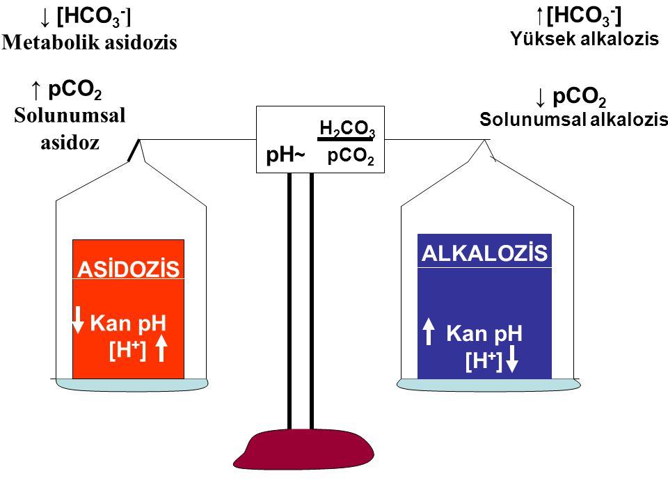 ↓ [HCO3-] Metabolik asidozis  [HCO3-] ↑ pCO2 Solunumsal asidoz ↓ pCO2